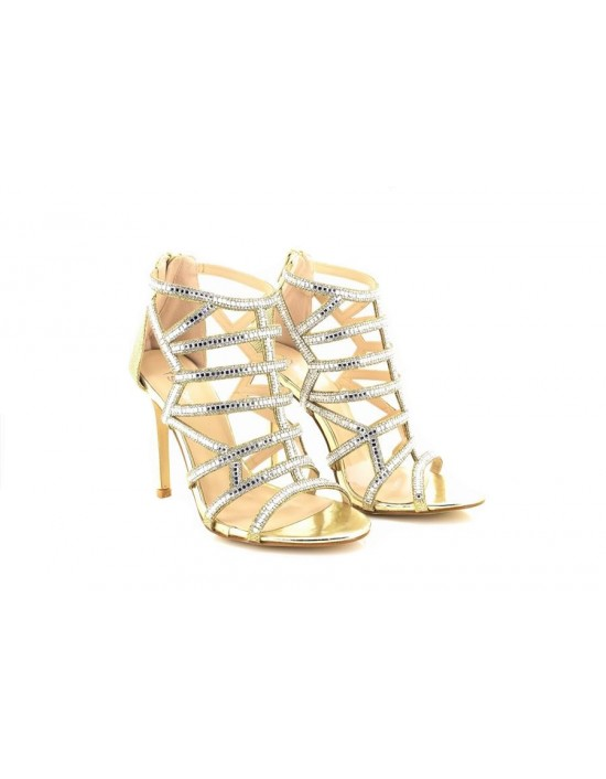 Ladies Norta Cage Gold/Silver Party Sparkly Evening Wedding Shoes High Heel Sandals