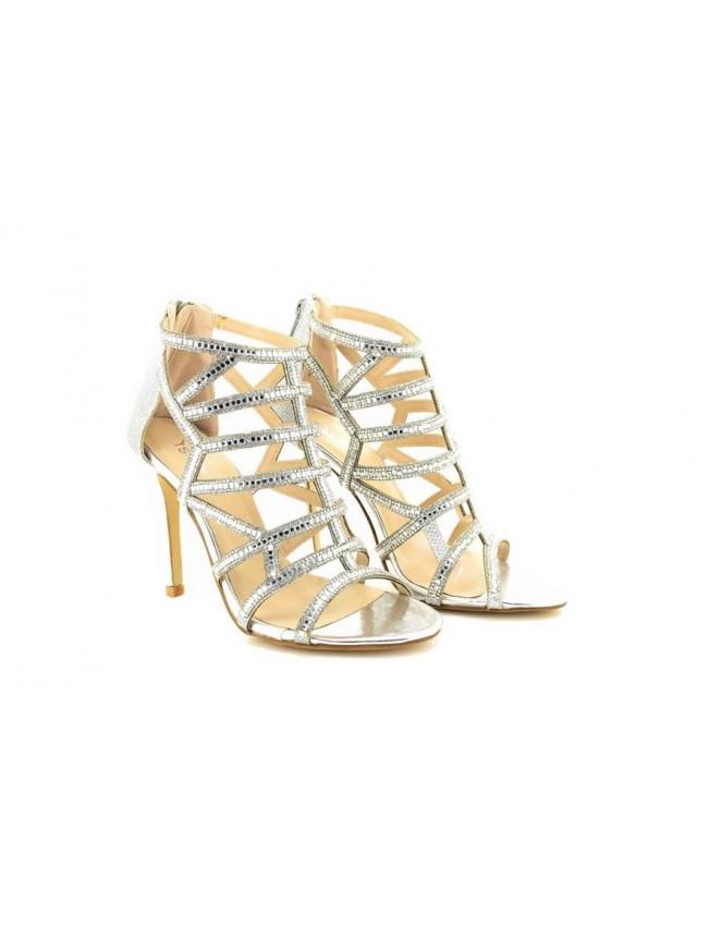 silver mid heels uk