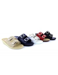 Ladies Jewel slip on mule with adjustable buckle detail and comfort sole