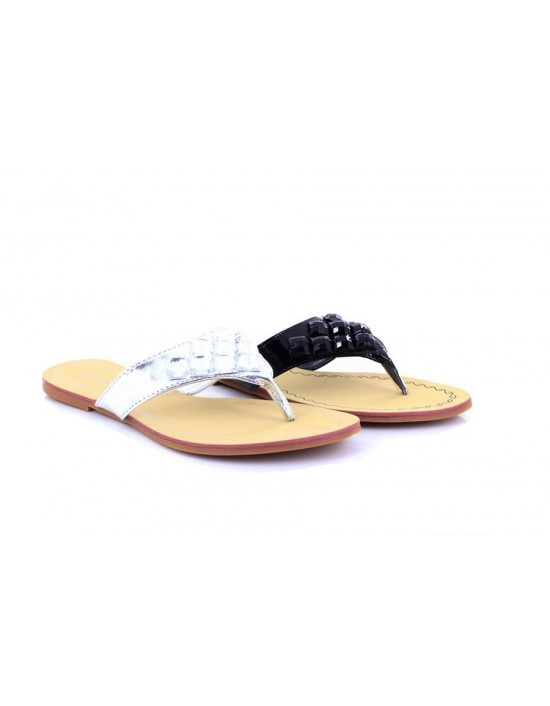 Womens Flat Diamante Toe Post Summer Sandals Flip Flops