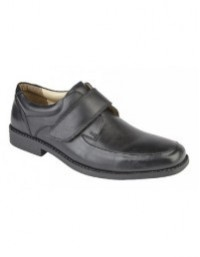 Mens Tredflex TF5707 Black Leather Touch Fastening Casual Shoes