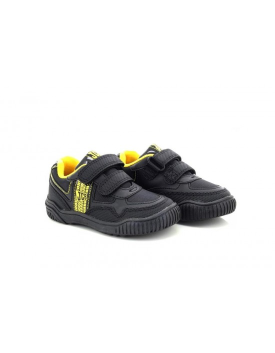 Boys Kids JCB Trackor Touch Fastening Trainers Black Yellow New School Shoes