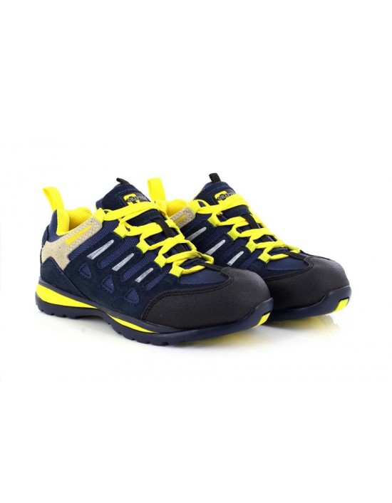 Grafters M210C Navy Yellow Metal Toe Safety Trainer Shoes