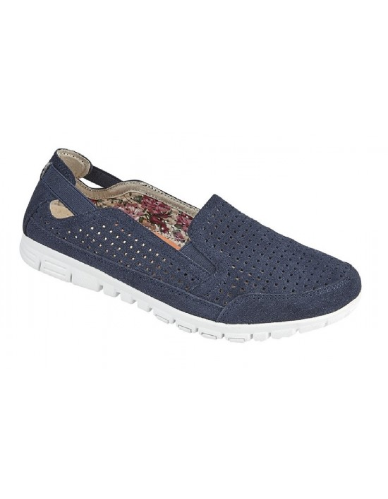 Boulevard Nancy L29 Twin Gusset Punched Leisure Casual Canvas Trainer Shoe