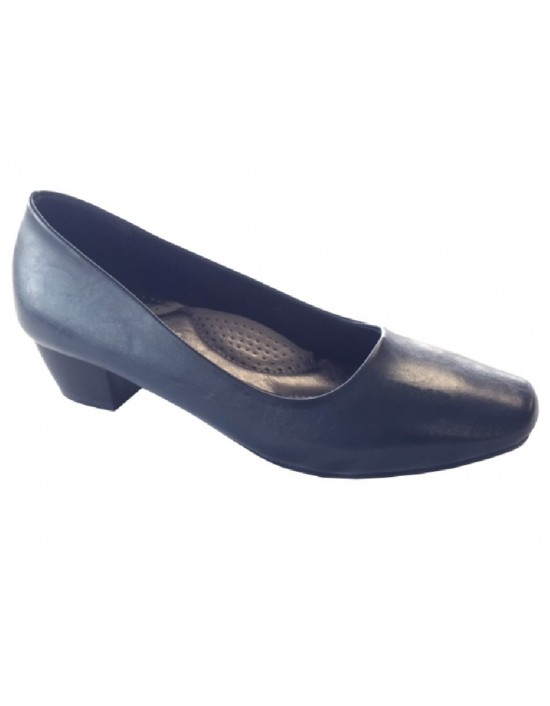 Boulevard L402 Plain Mid Low Heel Plain Court Office Shoes