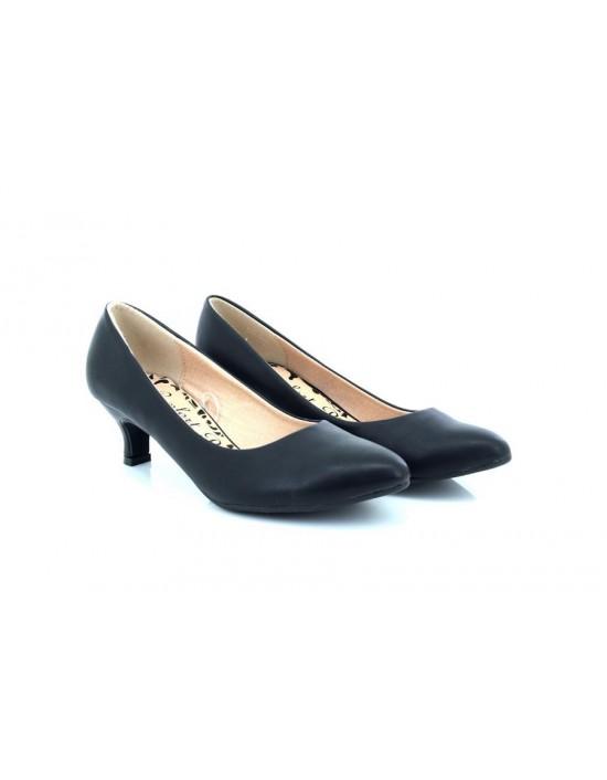 Comfort Plus Texas Wide Fit Kitten Heel Folded Vamp Evening Court Shoes