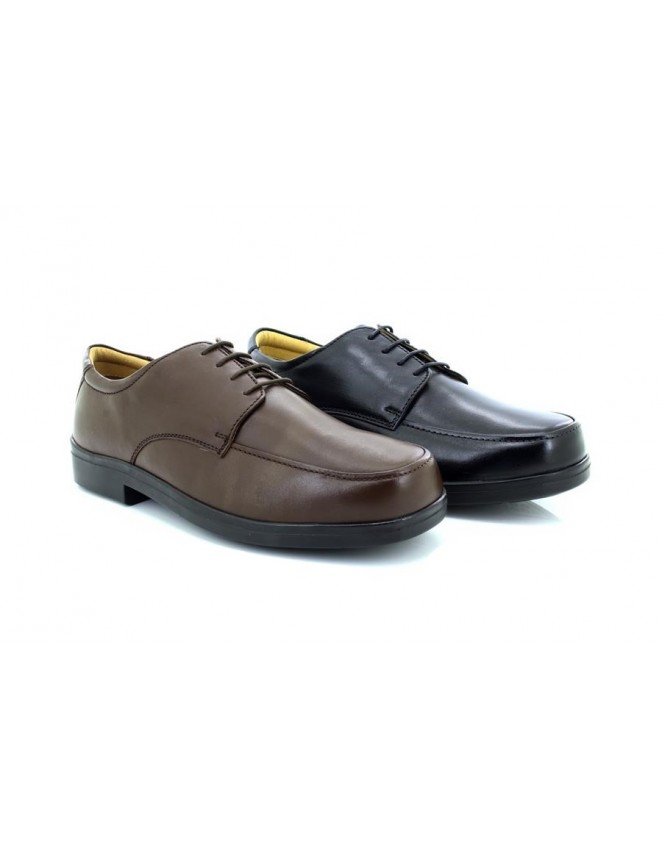 Roamers XXX Wide Fit Shoes Black Softie Leather