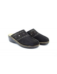 Natrelle Cathleen Ladies Black Comfort Slip on Nursing Mule Sandal Shoes