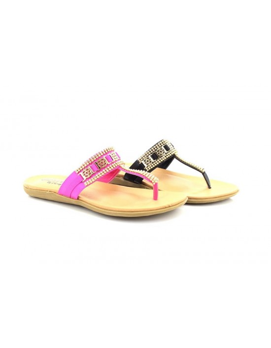 Ladies Envy Sophia Flat Diamante Toe Post Sandals