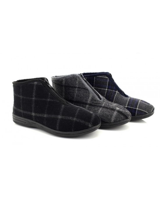 Mens JED II Zip Up Checked Warm Lined Cosy Bootee Slippers
