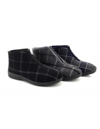 48a5c82115e Mens Justin II Front Zip Classic Checked Ankle Thermal Bootee Indoor  Slippers