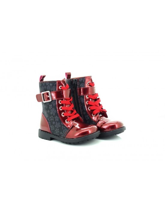Small Girls Patent Leather Look High Ankle BIKER Boots RED Chatterbox
