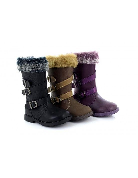 Girl's Petra Chatterbox Zip Up Warm Faux Fur Lined Mid Calf Boots
