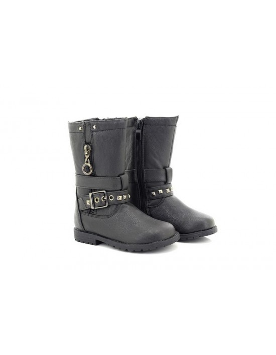 Girls Black Chatterbox Strappy Matte Effect Boot Mid Calf Ankle Winter Boots