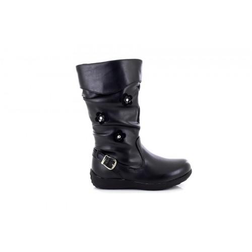 New8teen Girl/'s Belle Black Boots Flower Pattern