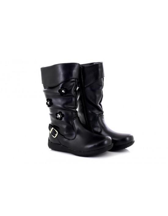 New8teen Girl's Belle Synthetic Black Boots Flower Pattern