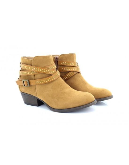 Ladies Emma Tan Brandy Stud Strap Block Heel Ankle Boots