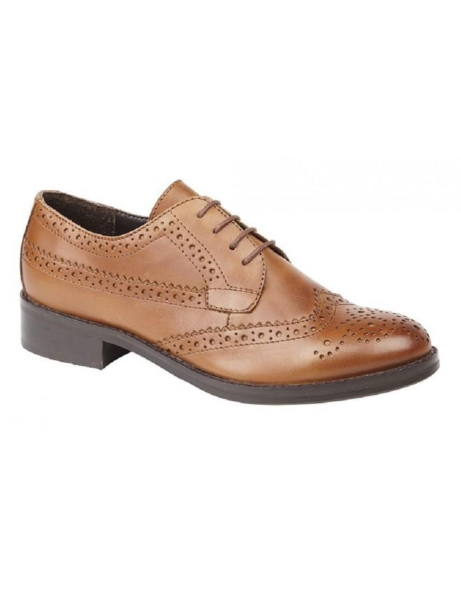 57103064aa8 Cipriata L5044A Ladies Premium Basic Leather Lace Up Flat Brogue Shoes