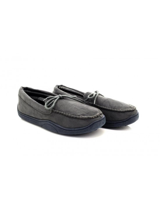 Anthony Men's Laced Moccasin Loafer Slippers Faux Suede Textile Lining