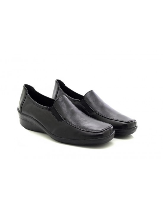 Mod Comfys L454A Black Twin Gusset Casual Wedge Leather Shoes