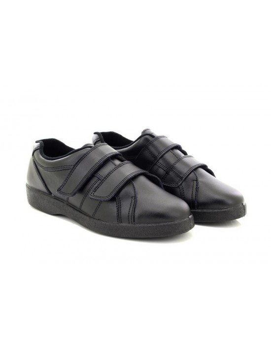 Boulevard NAPOLI L94 Ladies Black Leather Wide Fit Touch Fastening Trainer Shoes