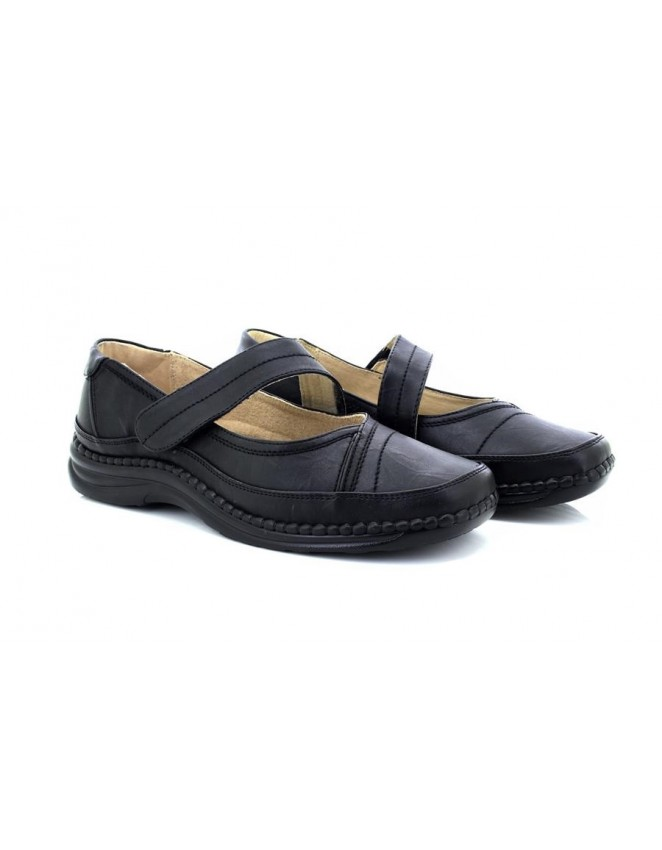 5e274f6ad4c0 Boulevard L981A Black Extra Wide Touch Fastening Shoes