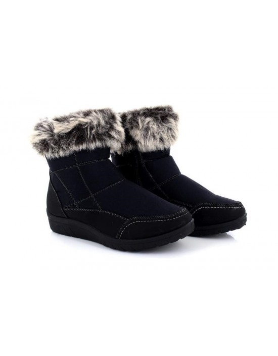 Dr Keller Miriam Black Side Zip, Fur Collar Ankle Winter Boots