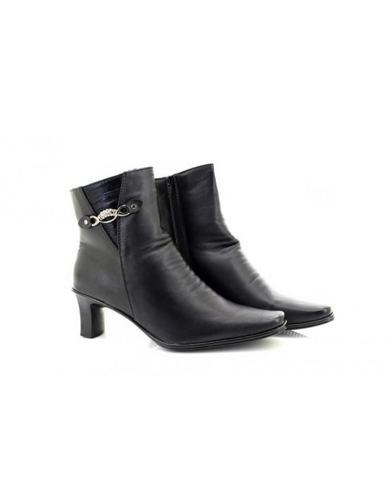 Ladies Black Diamante Trim Zip Ankle Boot
