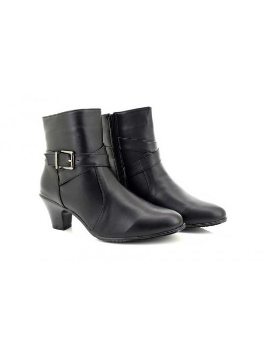 Ladies Denia Black Low Heel Buckle Strap Ankle Boots