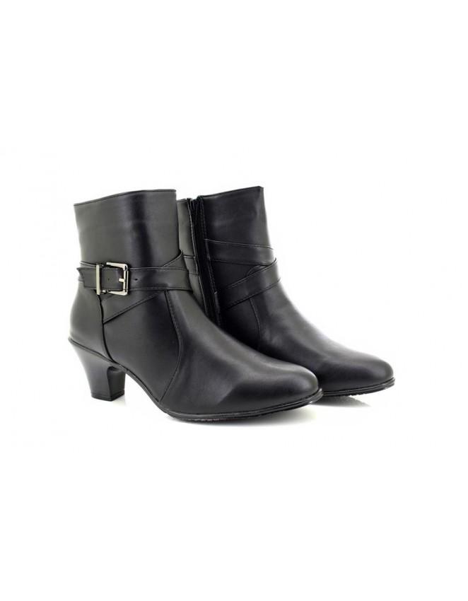 f7796910ef3 Ladies Denia Black Low Heel Buckle Strap Ankle Boots