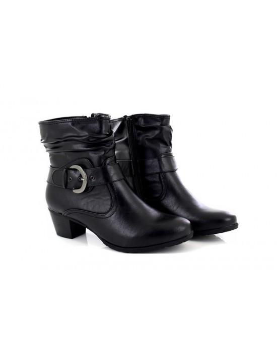 Ladies Black Silvie Low Block Heel Ankle Boots