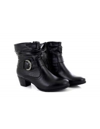Ladies Black Silvie Low Block Heel Ankle Boots