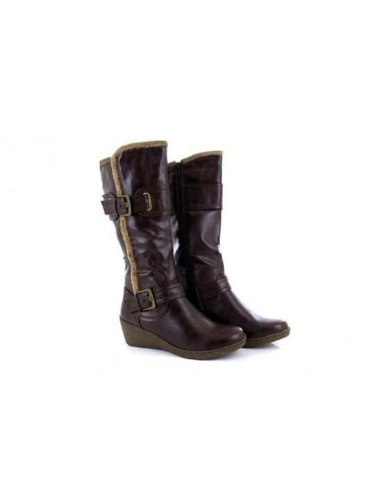 Ladies Natrelle Larissa Wedge Heel Boots Brown