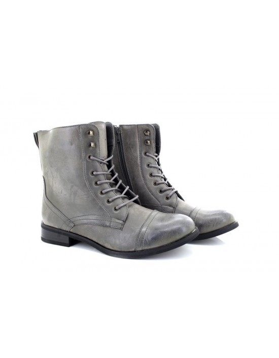 Platino Girls Ladies Marley Grey Military Style Ankle Combat Boots