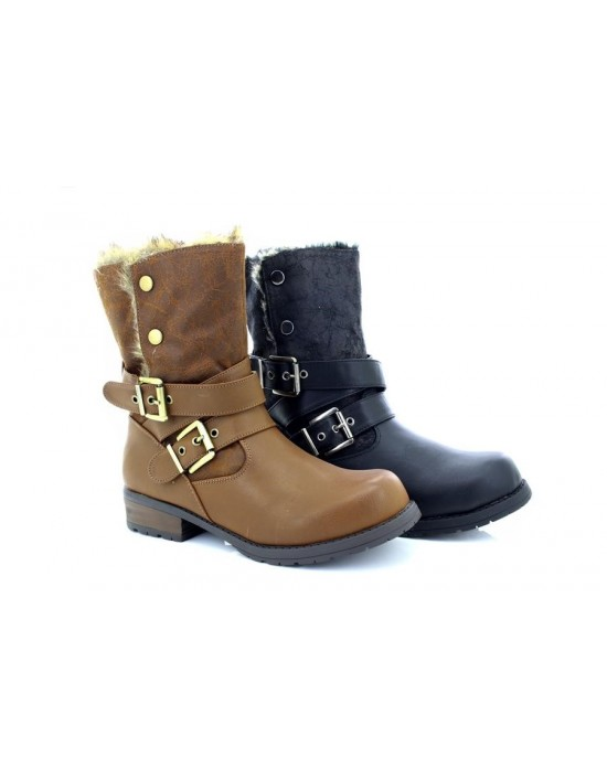 Emma Ladies Newport Low Heel Faux Leather & Fur Fold Over Top Boots
