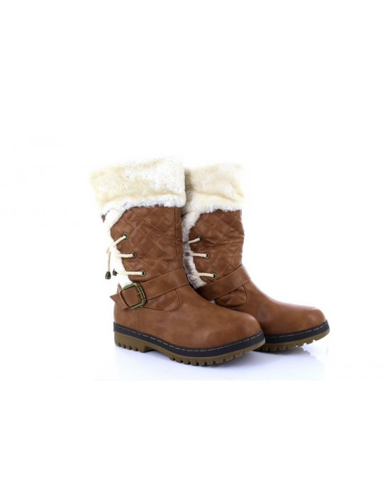 Ladies Brown Colour Pull On Fashion Boot With Fur Collar Truffle