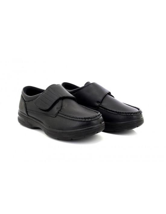 Dr Keller Tony Black Lightweight Velcro Wide Fit Shoes