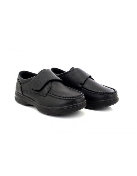 Dr Keller Tony Black Lightweight Velcro Wide Fit Shoes