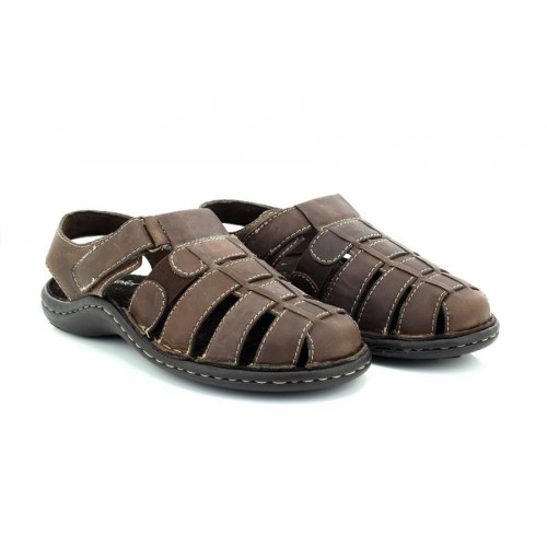 Mens Thomas Blunt /'A1120/' Brown Leather Closed Toe Summer Sandals