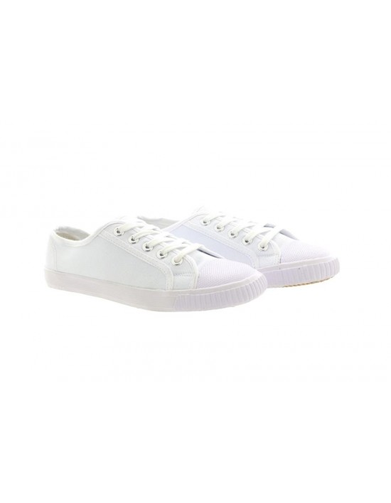 Unisex DEC R4392 Rubber Front White Lace Up School Pe Plimsols Pumps