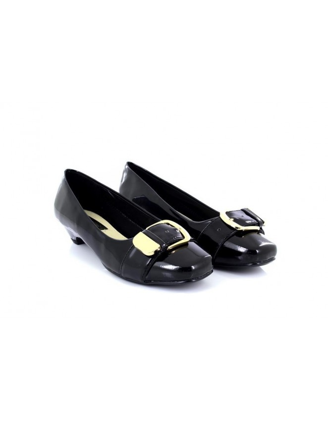 3aaac11c589 Comfort Plus Patent Gold Buckle Kitten Heel Wide Fit Shoes - ShuCentre