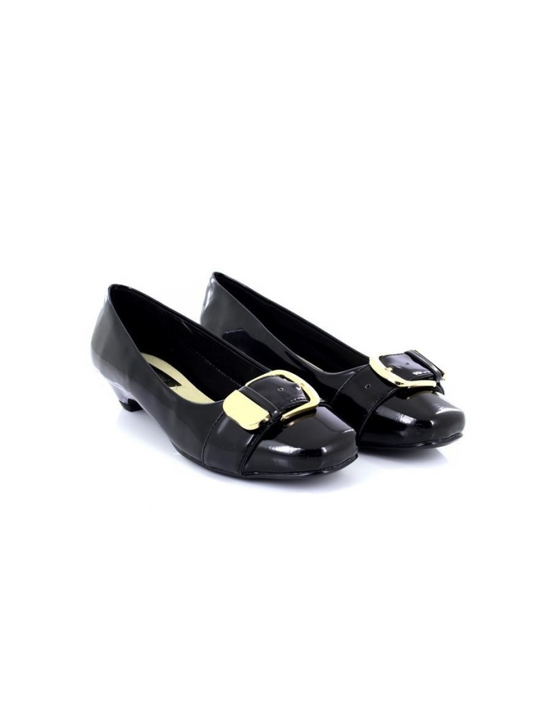 116977f5b5e1 Comfort Plus Patent Gold Buckle Kitten Heel Wide Fit Shoes - ShuCentre