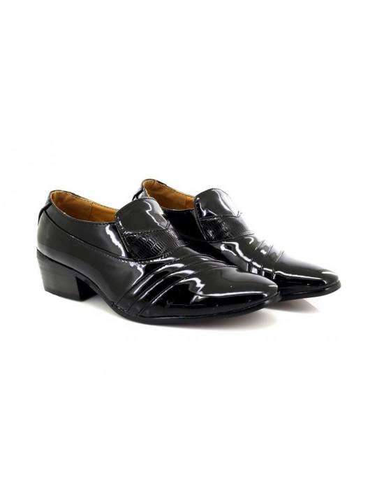 Mens Classique Patent Slip On Cuban Heel Shoes Black
