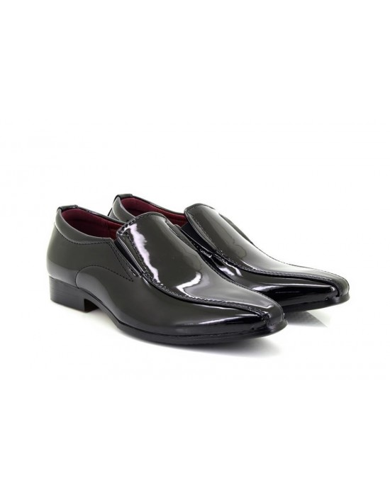 Boys Classique '6995' Pointed Patent Smart Formal Slip On Shoes Black