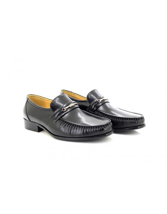 Mens Black Executive Chain All Leather Slip On Mocassin Shoes