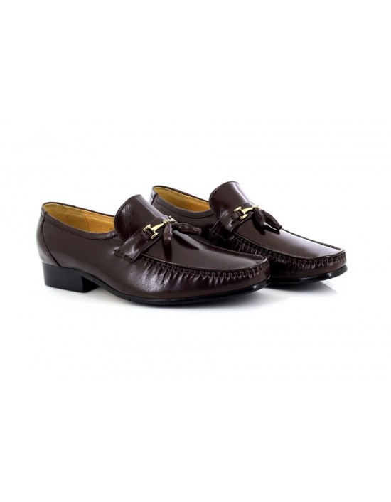 Mens Brown Executive Tassle Leather Slip On Mocassin Shoes