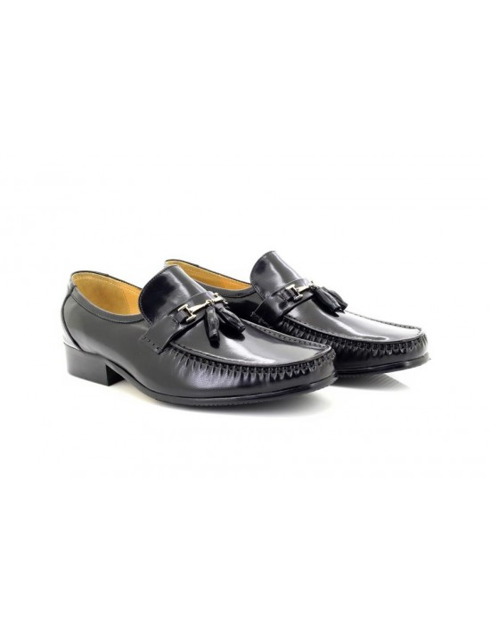 Mens Leather Executive Black Tassle Slip On Mocassin Shoes