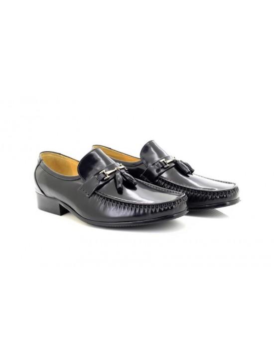 51921c0fb57d Mens Black Executive Tassle Toggle All Leather Slip On Smart Mocassin Shoes