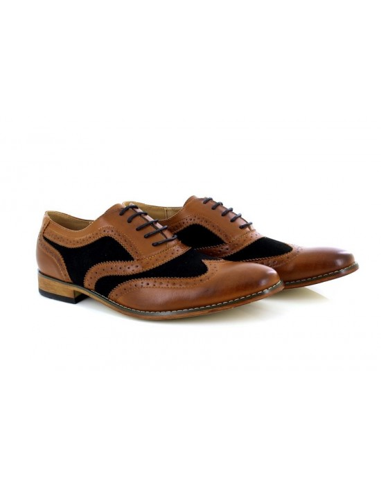 Mens Goor Formal Leather Lace-Up Brogue Shoes
