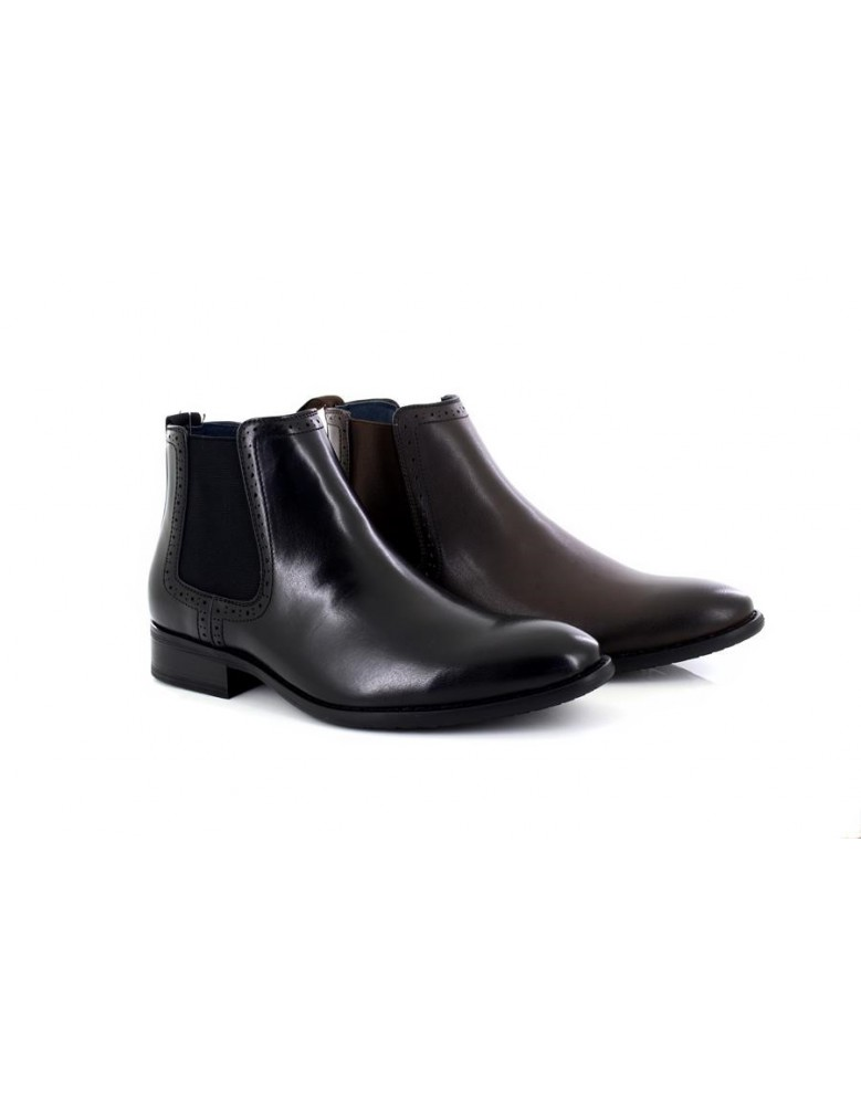 Route21 M801 Mens Mark Chelsea Ankle Boots Black PU